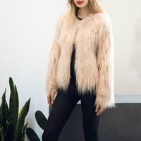 Wholesale s4 sleeve - Women 2017 Winter Black Fur Coat Long Sleeve Faux Fur Outerwear Lady Short Style Jacket Brand 8 Colors plus size overcoat S4