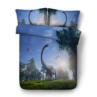 3d bedding set venda por atacado-Floresta 3D Capa de Edredão Conjuntos de Cama Dinossauro Animal Colchas de Férias Quilt Cobre Lençóis de Linho travesseiro completo rainha rei rei cal conjuntos de cama