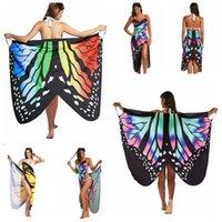 ingrosso kimono farfalla-Vestito da donna con stampa a farfalle irregolare Vestito da festa a spiaggia con schienale lungo Boho Chic Vestito aderente da spiaggia Vestito da spiaggia Copricostume da spiaggia 50 pezzi OOA4712