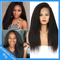 Wholesale long kinky straight lace wig - Italian Yaki Lace Front Wigs For Women Long Black Glueless Synthetic Hair Wig Kinky Straight Heat Resistant Fiber Half Hand Tied 24 inches