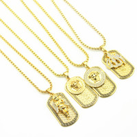 Wholesale Imitation Metal - 2018New fashion Punk medusa Gold Silver hip hop neckalce Metal Submachine Hatet Maxi Pistol Necklace & Pendants Hip Hop Jewelry for Men Wome