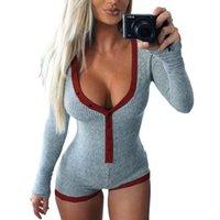 ingrosso sottili bodysuits-Pagliaccetti Sexy Body tute Bodycon Bodycon Donna Slim Slim Maglia manica lunga con scollo a V manica corta Autunno 2018