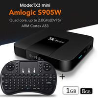 mini player de mídia sem fio venda por atacado-Caixa de TV Android mais vendido em 2019 1G8G TX3 mini caixa de TV inteligente Streaming media player com 2.4G teclado sem fio RII mini mouse I8 Fly Air