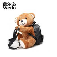 Wholesale Ted Christmas Bear - WERLO New Lovely Women Backpack Teddy Bear Plush Backpacks Soft Ted Bear Shoulder Bag PU Leather Fashion Girl Bags Mochila SJ056