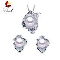 подлинный пресноводный жемчуг стерлингового серебра оптовых-LINDO Amazing Pr925 sterling silver jewelry 100% genuine freshwater pearl jewelry sets for women 4 colors Recommend