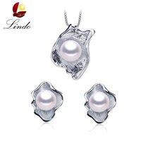 hakiki inci setleri toptan satış-LINDO İnanılmaz Pr925 gümüş takı 100% kadınlar için hakiki tatlısu inci takı setleri 4 renkler Tavsiye