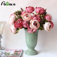 Wholesale Plastic Wedding Flowers - 13 Heads  Bouquet Large Artificial Peony Artificial Flowers Silk Decorative Fake Flowers For Hotel Wedding Garden Home Decor