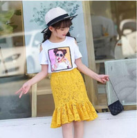 Wholesale leopard skirt suits - New Girl Clothes Set Summer Girl Clothing Sleeve-off Top+Hollow out Lace Skirt 2 Pieces Girl Suit For 3~14 Y
