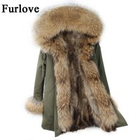 Wholesale Womens Real Fur Jacket - Womens Winter Jacket Women Coat Jackets Real Raccoon Fur Collar And Lining Parkas Vintage Warm Thick Army Green Black Long Parka