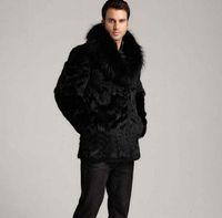 casaco de peles comprido com cabelos de coelho venda por atacado-Engrossar inverno térmica cabelo de pele de coelho jaqueta de couro dos homens casuais sobretudo dos homens de médio a longo casacos outerwear moda preto