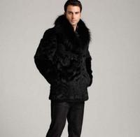 hombres de pelo medio al por mayor-Invierno espesar pelo térmico chaqueta de cuero de piel de conejo hombres abrigo casual para hombre abrigos medio-largo prendas de vestir exteriores de moda negro