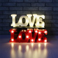 Wholesale Led Love Sign - 2018 New Romantic Small White LOVE Marquee Sign Night Lights For Home Wedding Decoration Valentine Gift