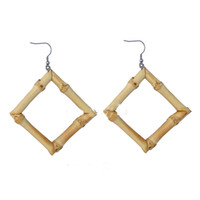 Wholesale whip women - Original Ecological Green Bamboo Earrings Rhombus Square Bamboo Root Whip Earrings Bamboo Earrings For Women Support FBA Drop Shipping H629F