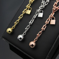 Wholesale 14k Gold Ball Necklace - Lock & Ball Necklace American HardWear T-necklace Punk Chain Women Party 1837Jewelry