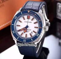 Wholesale grey ceramic - New 44mm JEANRICHARD Terrascope 60500-11-B01-HDP0 Steel Blue Ceramic Bezel White Dial Automatic Mens Watch Leather Blue Line Sports Watches