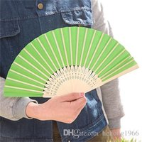 wholesale japanese gifts NZ - 7 Inch Hand Folding Fan Blank Colorful DIY Paper Fans Hollow Out Bamboo Handle For Children Painting Wedding Gifts 1 5za ff