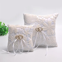 Wholesale anti static ring resale online - Bearer Pillow Ivory Lace Ribbon Pearl Wedding Ceremony Satin Ring Pillows Hollowed Out Design Wedding Decoration Supplies sc BB