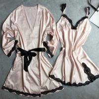 intime nachtkleider großhandel-Rosa Kimono Bademantel Kleid Freizeit Schlaf Set 2PCS Nachtwäsche Neue Frauen Robe Spitze Sexy Intimwäsche Dessous Nachtkleid M-XL