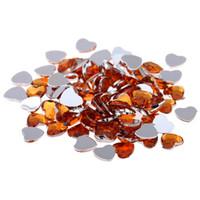 ingrosso adesivo cuore arancione-Colore arancione Artigianato fai da te Cuore gemme lucido sfaccettature piane colori normali strass acrilico strass adesivi per unghie