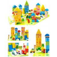 Wholesale city building for sale - Group buy 100pcs set Cartoon City Traffic Wooden Building Blocks DIY Creative Kids Wooden Blocks Children Early Educational Toys Gift
