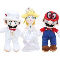 Wholesale 25cm Classic Game Super Mario Odyssey plush toys stuffed doll peach princess wedding dress Child Anime Soft Doll Christmas Gifts