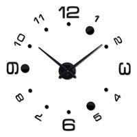 modern metal saat toptan satış-3D Modern Duvar Çerçevesiz Saat Akrilik Ayna Metal Büyük DIY Duvar Çıkartmaları Süslemeleri (Siyah)