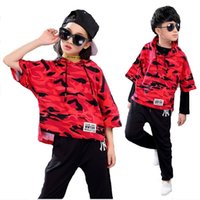Wholesale Hip Hop Suits Girls - Teenager Girls Boys Kid Spring Summer Children Clothing Set Costumes Hip Hop Dance Sets Pants+Camouflage T-shirt Suits twinset Tracksuits