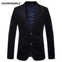 i̇ngiliz giyim eşyası erkekleri toptan satış-SHOWERSMILE İngiliz Tarzı Siyah Kadife Blazer Sonbahar erkek Takım Elbise ve Ceketler Slim Fit Iki Düğmeler Casual Blazers Erkek Giyim