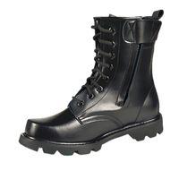 siyah dantel ayakkabıları çizme erkekler toptan satış-Büyük Boy 36-46 Bahar Erkekler Askeri Botlar Hakiki Deri Çelik Burunlu Ayakkabı Lace Up Siyah Su Geçirmez Iş Boots Erkekler Platformu ...