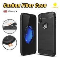 Wholesale Fiber Black - Rugged Armor Case for iPhone 8 Plus iPhone X Samsung Galaxy Note 8 S9 Plus Anti Shock Absorption Carbon Fiber Design