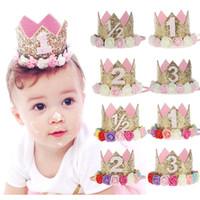 Wholesale Wholesale Plastics Tiaras - 1st Baby Girls Birthday Hat Crown Newborn Party Headbands Flower Girls Gold Tiaras Girls Hair Accessory Glitter Baby Newborn Headwrap 2018