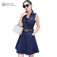 robes coréennes plus achat en gros de-2018 Robe D'été Femme Denim Sundress Coréenne De Mode Casual Ceinture A-ligne Jeans Club Robes De Soirée Plus La Taille Sexy Vestes OKB941