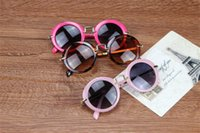 Wholesale Baby Scratch - 6 Colors Fashion Round Cute Kids Sunglasses Brand Boys Sun glasses Baby Vintage children glasses Gift