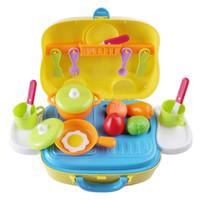 vajilla amarilla al por mayor-Surwish Kids Kitchen Wares Kit Pretend Play Toy con Handy Suitcase Juguetes educativos - Amarillo