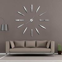 temps de vie achat en gros de-Sans cadre DIY Horloge Murale 3D Miroir Horloge Murale Grand Mute Autocollants pour Salon Chambre Décorations pour la Maison Big Time