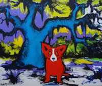 Wholesale dogs canvas oil paintings resale online - George Rodrigue Animal Blue Dog Oil Painting Reproduction High Quality Giclee Print on Canvas Modern Home Art Decor G039