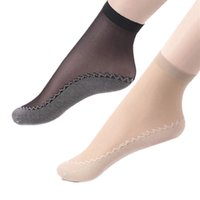 Wholesale transparent ankle socks - 10 Pairs Women Velvet Silk Summer Socks Cotton Bottom Soft Anti -Slip Sole Massage Short Ankle Transparent Thin Socks