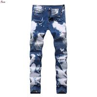 горячие дизайнерские джинсы оптовых-Hot Brand Designer Fashion Jeans Men Straight Blue Color Printed Mens Jeans Motocycle Denim Trousers Ripped Jeans,100% Cotton