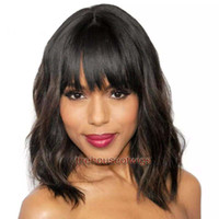 Wholesale human hair wave bangs - Short cut human hair bob wigs Women With bangs Full Lace Bob Cut Wigs For Black Women Virgin Human Hair Lace Front Wigs Human Hair Bobs