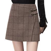 e6cf822f4348 Autumn Winter Women Plaid Skirt New High Waist Woolen Skirts Sexy Slim Pack  Hip Mini Skirt Female A Line Short Saias AB627