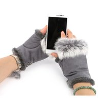 Wholesale Glove Fur Woman - Women Winter Glove Faux Rabbit Fur Hand Wrist Warmer Fingerless Gloves