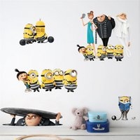 Wholesale Kids Car Wall Stickers - 3D Cartoon Movie Sewer Minions Wall Stickers Kids Rooms living room Children Computer Car Decor Decals Poster Gift wallpaper