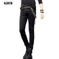 черные брюки цепи оптовых-Горячие Продажи Мужские Корейские Дизайнерские Черные Брюки Slim Fit Джинсы Прохладные Супер Узкие Брюки С Цепью Для Мужчин