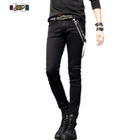cadenas de pantalones negros al por mayor-Venta caliente para hombre diseñador coreano Slim Fit Jeans Punk Cool Super Skinny Pants con cadena para hombre