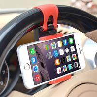 samsung s5 autohalter großhandel-Auto-Telefon-Halter-flexible Lenkung Universalrad-Aufnahme für Iphone 7/6s Auto-Installationssatz-Halter für Samsung S5 / S4 / S3 Telefon-Zusätze