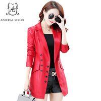 Wholesale Korea Slim Women Coat - Autumn PU leather jacket women motorcycle Faux Leather female korea slim Double-breasted mujer invierno plus size OL long coat