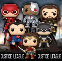 Wholesale superman batman online - Funko Pop Justice League Batman Wonder Woman Superman The Flash Aquaman Cyborg Vinyl Action Figure With Box Popular Toy Gift