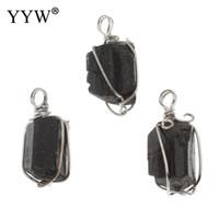 ingrosso pietre turmali nere-Ciondolo tormalina con pendente in pietra nera placcata in lega di zinco perline 17x33x15 -15 .5x34 .5x14 .5mm 10pz
