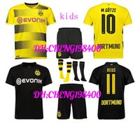 Wholesale borussia shirt - top quality new 17 18 Dortmundes kids kit +socks soccer jersey 2017 2018 AUBAMEYANG GOTZE KAGAWA DEMBELE PULISIC REUS Borussia shirts kids
