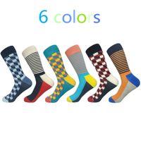 ücretsiz teslimat giysileri toptan satış-Yeni Hombre Casual Ücretsiz Yüksek Kaliteli Eşya Teslimat Man Çorap, Renkli Elbise Çorap (6 Çift / grup) No Box